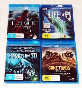 3D Blu-Ray Movies 4 x THOR, LIFE OF PI, SANCTUM & CANE TOADS The Conquest