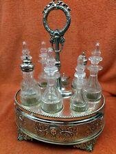 More details for antique large silver plate & cut glass complete cruet set 19th century c1860 aan