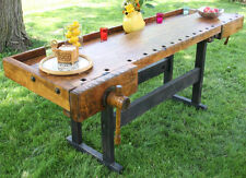 1908 Christiansen Workbench Antique, Industrial island, sideboard table Chicago