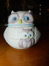 VTG Lefton China Owl Trinket Box Ring Holder Hand Painted Lavender Blue On White