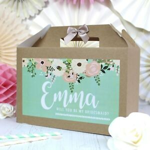 PERSONALISED WEDDING GIFT BOX | GARDEN ROSE | PARTY FAVOUR BAG