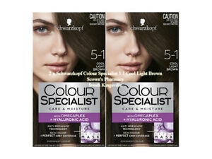 2 x Schwarzkopf Colour Specialist 5.1 Cool Light Brown Up To 90% Less Breakage