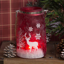 Christmas Reindeer Red Frosted Glass Lantern Xmas Festive Decoration