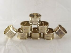 SMART SET OF 8 SOLID STERLING SILVER NAPKIN RINGS MILITARY 1936 292 g