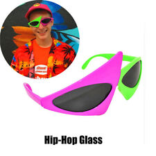 Novelty Asymmetric Triangle Glasses HipHop Neon Green and Purple Fun Sunglasses
