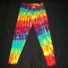 Tie Dye Leggings Women's Medium Rainbow Swirl Hand Tye Dyed Hippie Made in USA