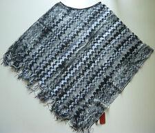 136c7ef868e Missoni Poncho Viskose BW Zickzack-Muster schwarz grau weiss Rundhals Cape