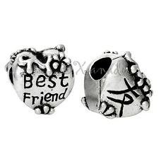 Best Friend Heart With Chinese Character Double Sided European Charm Bead