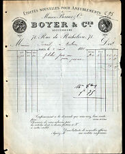 """PARIS (II°) ETOFFES pour AMEUBLEMENT """"BERNIER / BOYER Succ"""" en 1883"""