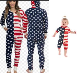 Family mens ladies kids baby all in one pyjama loungewear flapjack USA RRP £40