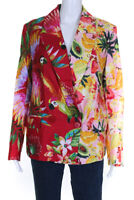 FARM Rio Womens Macaw Mix Linen Blazer Red Yellow Pink Size Extra Small