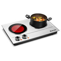 Costway Electric Hot Plate Ceramic Double Infrared Burner 1800W Stainless Steel