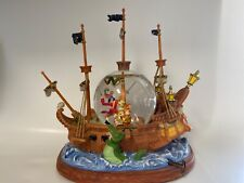 "Disney Peter Pan Captain Hook Pirate Ship Musical Snowglobe "" You Can Fly "" 10"""