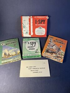 2 Vintage 1955 I-Spy books #14 Boats & Waterways #21 Musical Instruments