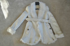 Burberry White Sheepskin Leather Shearling Belted Jacket Coat Womens UK 8 US 6