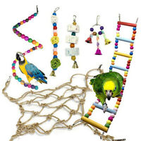 FJ- EE_ DV_ 6PCS Parrot Toy Colorful Ball Bell Spiral Beads Rope Net Ladder Cage