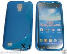 3 Custodia WAVE BLU S Line per Samsung I9295 Galaxy S4 Active Cover Morbida TPU