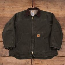"Mens Vintage Carhartt Fleece Lined Workwear Chore Jacket Green XL 48"" R5230"