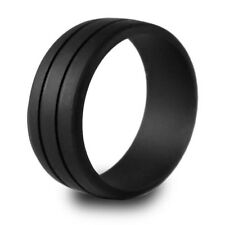 Grooved Black Silicone Rubber Wedding Ring Band ... size 10  ... US Seller