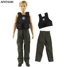 1set Doll Clothes for Ken Boy Doll Outfits Black Vest Long Trousers Pants 1/6