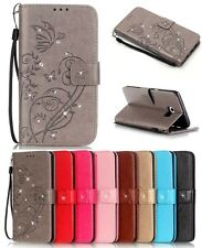 Luxury Bling Diamond Embossed Style Flip PU Leather Wallet Case Cover For Phone