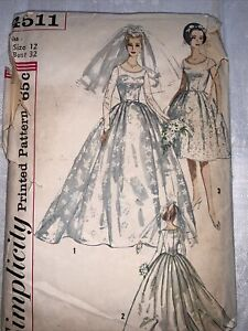 Vtg 1950's Simplicity #4511 Pattern Misses Size 12 Wedding Gown/Evening Dress