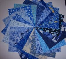"40 Beautiful Blues  4"" Fabric Quilt Quilting 40 Squares"