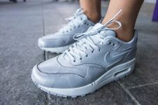 Womens NIKE Air Max 1 Cutout PRM Premium Silver Sneakers US 8 #16210