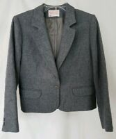 VTG Pendleton Womens Gray Petite Wool Blazer Jacket Size 8 Suit Dress