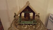 VINTAGE THERMOMETER OLD GERMAN WOOD COTTAGE ROTATING FIGURE CHRISTMAS DECORATION