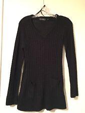Creazioni Effeci Small Black Long Sleeve V-neck Knitted Women's Sweater *