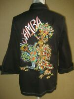 "Vintage Bob Mackie ""Samba"" embroidered front zip 3/4 sleeve stretch jacket S"