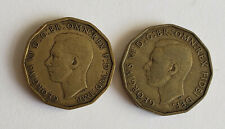 More details for 2 rare dates george vi 3d threepenny piece coins 1946 and 1949