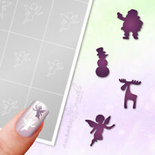 Airbrush Nailart Stick Templates WS7 Santa Angels Snowman Christmas