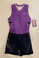 ZOOT Womens Tri Triathlon Suit Back Zip Racesuit Purple Black Sleeveless XL NWT