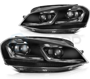 Pair Headlights Assembly Fits 2014-2015 Volkswagen Golf MK7 LED Black Projector