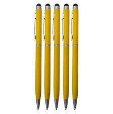 5x Touchpen Stylus Eingabestift Kugelschreiber Kulli gelb Smartphone Tablet