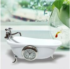 Miniature Clock Mini White Ceramic Clawfoot Bath Tub Gift Present Decoration