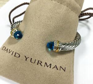 Classic David Yurman Blue Topaz Sterling Silver Bracelet & 14K Gold 7mm