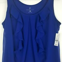 New York & Company Women's Blue Ruffle Front Sleeveless Blouse Top Size L