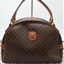 Auth CELINE Logos Macadam Pattern Logos Hand Tote Bag Leather Brown Italy