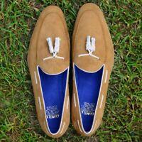 Men Tassel Belgian Loafer Slip On Handmade Bespoke Camel Calf Suede Leather Shoe