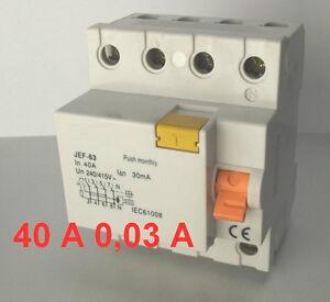 Fehlerstromschutzschalter, FI , FI-Schutzschalter 40A 30mA 0,03A TYP A 4 Polig