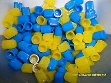 12 Valve Dust Caps Blue & Yellow Plastic for Car, Tube & Cycles+ Get 1 Pack FREE