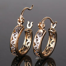 Antique 18k White & Yellow Gold Filled Hollow Design Women Hoop Earrings Studs