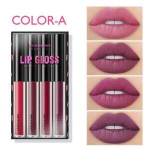 4PCS/Set Long Lasting Lip Gloss Beauty Glazed Matte Liquid Make-up V1K4