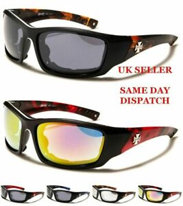 New CHOPPERS Padded Mens Rectangle Bikers Wrap Goggles Sunglasses 100%UV400 930