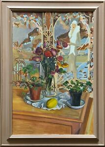 A Stunning Original Art-Deco Style Contemporary Figural Still Life Oil Painting