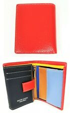 NEW VERA PELLE RED MULTI COLOR ITALIAN SOFT PEBBLED LEATHER TRIFOLD+COIN WALLET