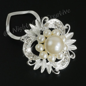 Scarf Clip, Pearl Crystal Scarf Ring, Sparkling Silver Tone, LAST FEW,Free Pouch